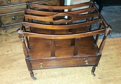 Antique Repoductin Canterbury Magazine Tidy On Wheels With Drawer