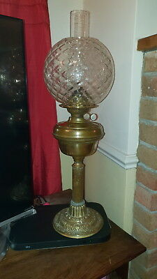 Antique Brass Globed Oil Lamp With Double Duplex Burner Vgc