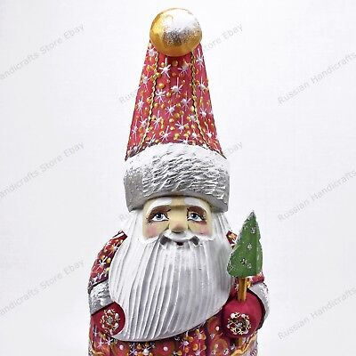 """6.5"""" Santa Claus Gnome Dwarf Christmas Russian Hand Carved Wooden Figure"""