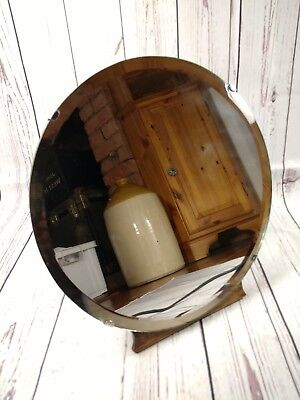 Vintage Mid Century Circular Mirror on Oak Backing Hinged Stand Dressing Table