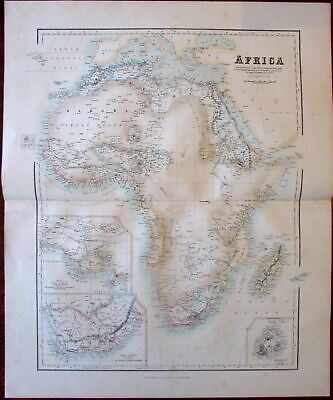 Africa continent Fullarton c.1858 large folio sheet map color lithographed