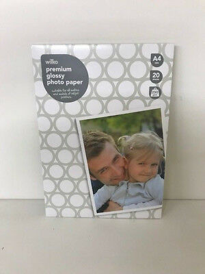Photo Paper A4 Glossy Inkjet Premium High Quality 250gsm 20 Sheets wilko branded