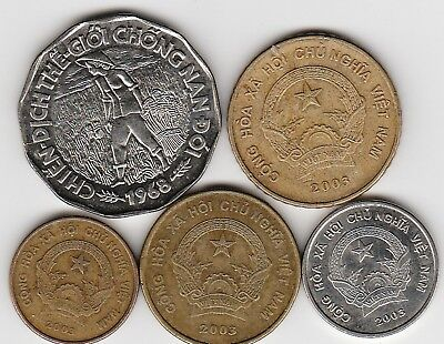 5 different world coins from VIETNAM