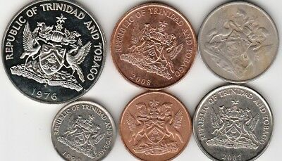 6 different world coins from TRINIDAD & TOBAGO