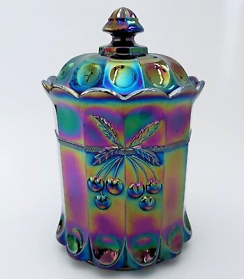 Mosser Cherry & Cable Carnival Glass Tobacco Cookie Jar Canister Amethyst Purple