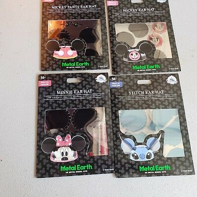4 Disney Metal Earth Ear Hat 3D Model Kit Mickey Pants, Mickey,Minnie,Stitch