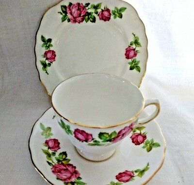 Royal Vale Tea Set Trio Pink Rose Gold Tea Cup Saucer Side Plate English China