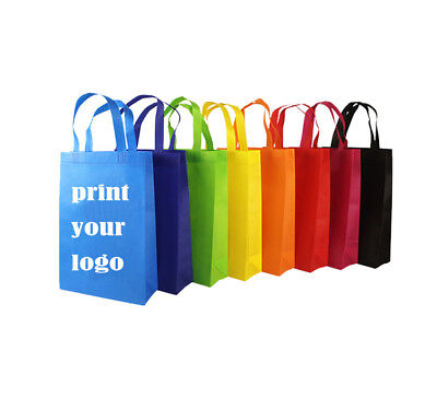 100 x Custom Printed Personalised Promotional Tote Bags Reusable Shopping Bags