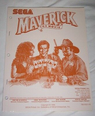 Sega Maverick Pinball Machine Original Manual 780-5031-00 NOS! Free Shipping!