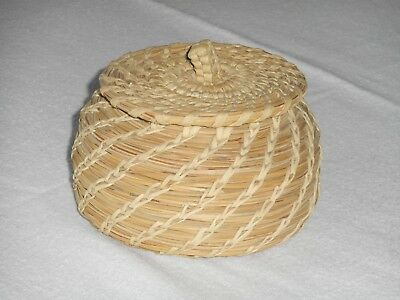 wonderful hand woven Bear grass basket coiled with yucca tight fitting lid