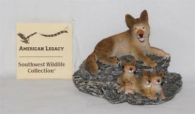 American Legacy Coyote Mother And Pups Statue Coyote Figures