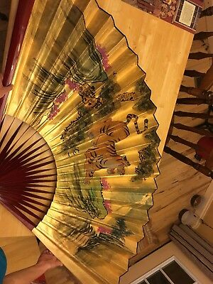 """HUGE Vintage Oriental Asian Painted Paper Wall Fan Bengal TIGER 38""""x66"""""""