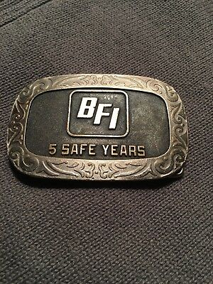 vintage Balfour BFI 5 Safe Years Belt Buckle Silver Tone