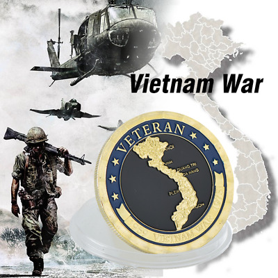 1pcs United States Military Vietnam Veterans Gold Plated Challenge Player Coin