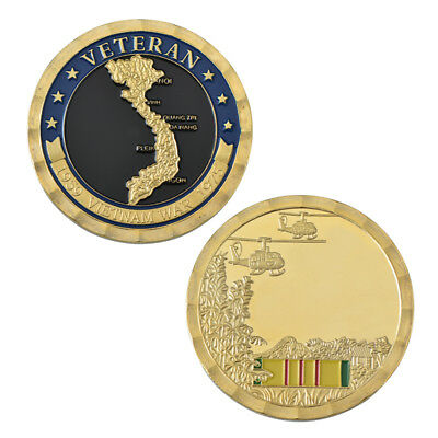 1.57 inch Vietnam War US Military Gold Plated Challenge Coin Collection Quality