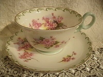 SHELLEY Pretty Mint Green Trim Over Pink Florals Bone China Cup & Saucer