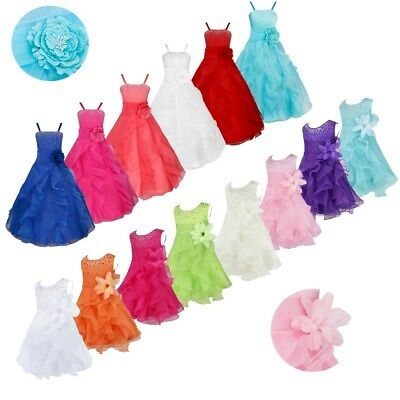 Flower Girl Toddler Princess Dress Party Pageant Wedding Organza Tutu Dresses