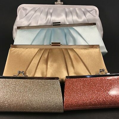 Lot of 5 Clutch Purses Gold, Silver, Blue, Pink