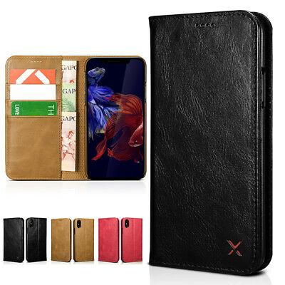 XOOMZ Cowhide Leather Flip Case Cover Card Slot For iPhone XS Max Self-standing