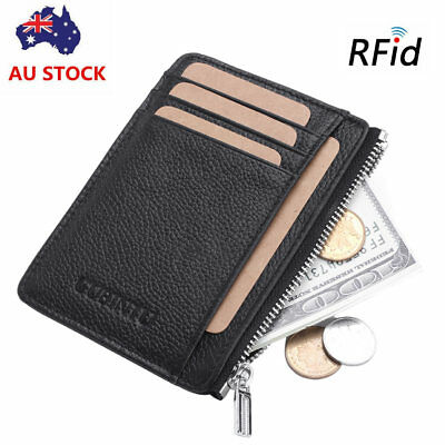 Mens RFID Blocking Flip Leather Wallet Slim Credit Card zipper Holder Money Clip