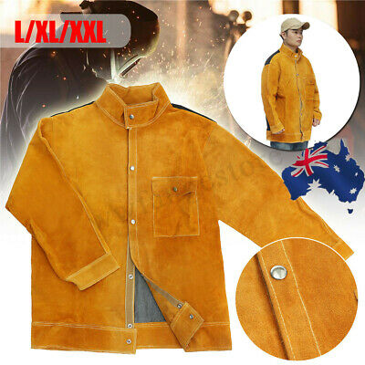 AU Leather Welding Jacket Coat Protective Clothing Apparel Suit Welder Safety