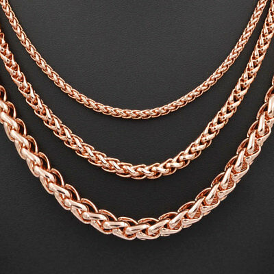 3/5/7mm Fashion Men Women Wheat Link Chain 18K Rose Gold Filled Necklace C02N