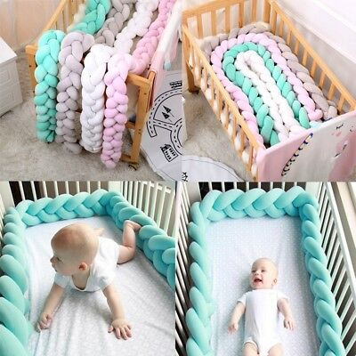 Baby Infant Plush Crib Bumper Bed Bedding Cot Braid Pillow Pad Protector Kids 1X