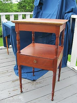 Early American Sheraton Cherry Bedside 1 Drawer Wash Stand Petite High End