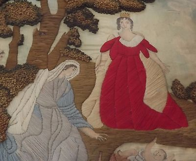 Antique Georgian Regency Needlework Embroidery Picture -  Moses