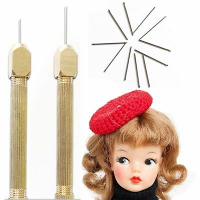 Doll Hair Rooting Reroot Re-hair Tool Holder With 2 Extra Needles For Barbie GW