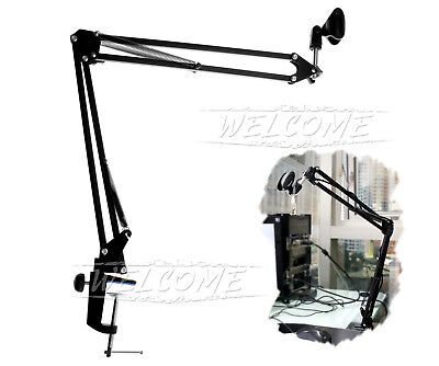 Folding Microphone Holder Stand Suspension Boom Scissor Arm For Studio