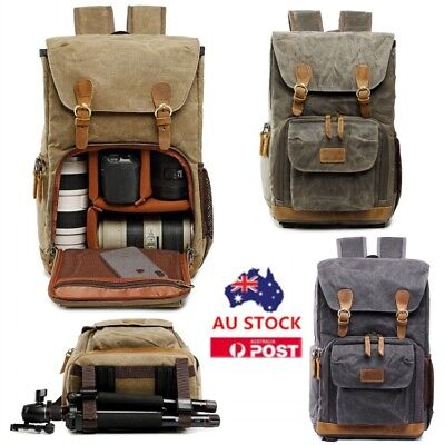 DSLR SLR Camera Backpack Canvas Rucksack Waterproof Travel Laptop Lens Case Bags