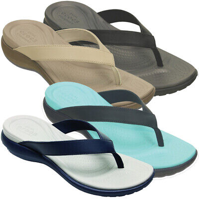 b7c45184dae8 Crocs Womens Ladies Capri V Comfortable Croslite Leather Flip Flop Sandal