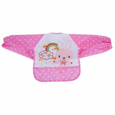 Lovey Cartoon Infant Toddler Baby Waterproof Sleeved Bib Child Feeding Smoc J2A4