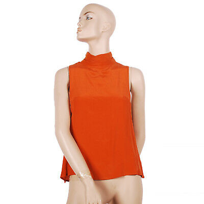 Womens Ladies Designer One Teaspoon High Neck Orange Sleeveless Top Size Small