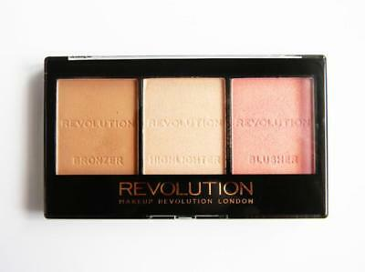 MAKEUP REVOLUTION Ultra Sculpt & Contour HIGHLIGHTER Bronzer BLUSH Kit ~FAIR C01