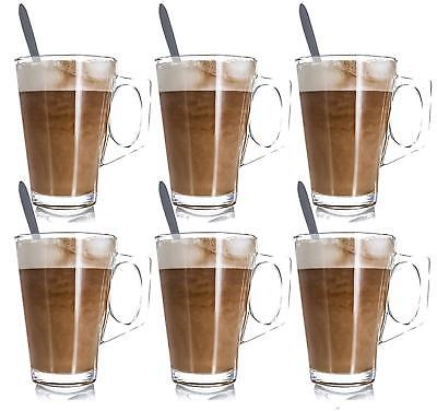 6 LATTE GLASSES TEA COFFEE CAPPUCCINO GLASS CUPS HOT DRINK MUGS with SPOONS