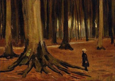 GIRL IN THE WOODS by Vincent Van Gogh - Matt, Glossy, Canvas Paper A4 or A3
