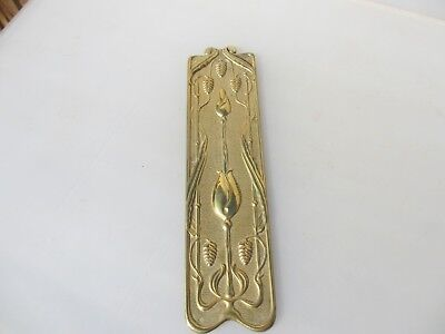 Vintage Brass Finger Plate Push Door Handle Art Nouveau Floral Old 1905 Antique