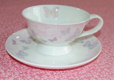 Laura Ashley Butterfly Garden Bone China Cup & Saucer.