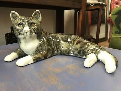 Stunning Winstanley size 7 Reclining Cat Pottery Signed Glazed Marble Eyes