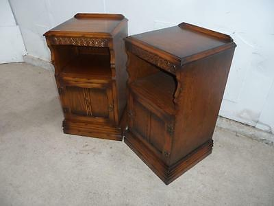 A Truly Stunning Pair of Golden Oak Open Carved Bedside Cabinets