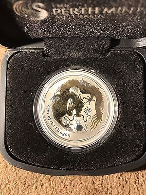 2012 1 oz Silver Year of the Dragon Proof Colorized Coin LOW MINTAGE