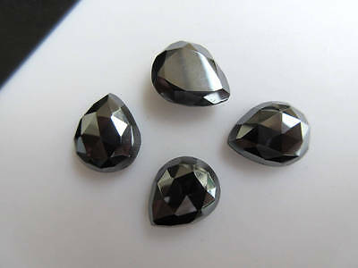 6pcs 14x12mm Natural Hematite Pear Shaped Rose Cut Faceted Cabochons BB461