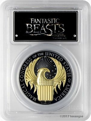 2017 $10 Cook Isles Fantastic Beasts 1oz Gilded Blk Silver Prf PCGS PR69DCAM FS
