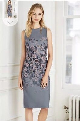 Ladies Grey Bodycon Floral Midi Dress With Mesh Panel Size 6 From Next BNWT £42