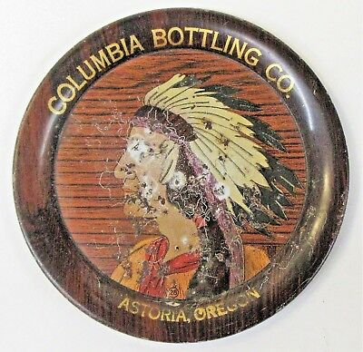 rare! early COLUMBIA BOTTLING CO. ASTORIA OREGON Beer tin tip tray INDIAN *