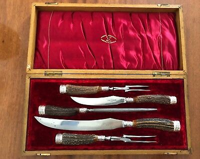 Antique Joseph Rodgers&Sons 5 Piece Sheffield Carving Set in Original Wood Box