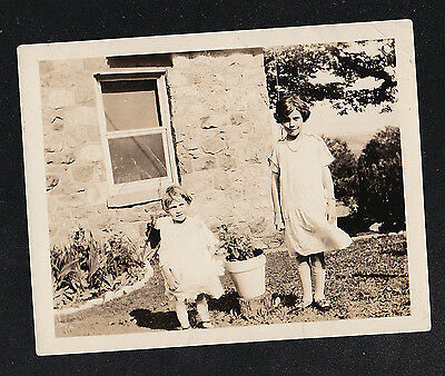 Vintage Antique Photograph Two Young Girls Standing in the Garden