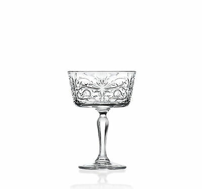 Set Of 6x RCR Italian Crystal Glassware Tattoo Champagne Goblet Glasses, 27 CL